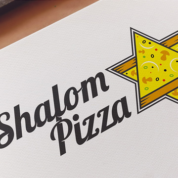 logo brand retro design kosher pizza