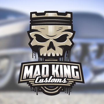 logo design mad king customs cars supercharger hot rom muscle v8 gasoline turbo