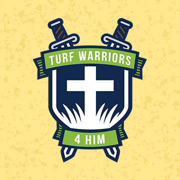logo design turf warrior grass green swords shield